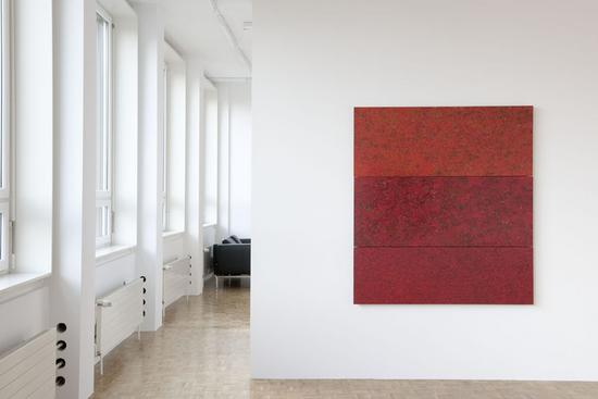 Jean Pfaff,  07/2008. Oil and enamel paint on plywood, 3 parts, 156 x 140 cm.<br />
