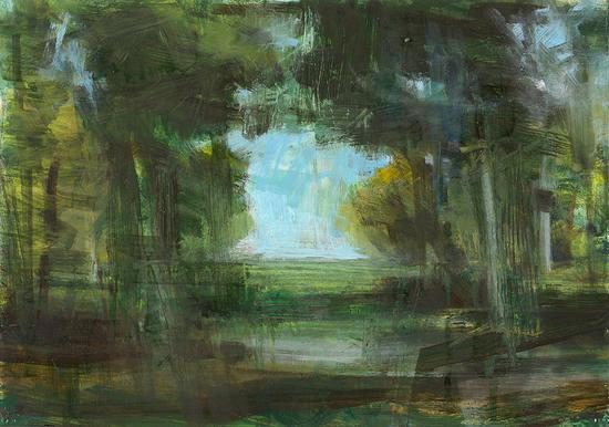 Artists, Ann Nelson, , Landscape, 2012. Oil on paper, 21 x 29,7 cm, Exhibition 2012